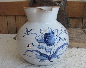 Vintage Clay Pitcher Blue & White Creamer Hand Thrown Cream Pitchers