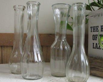 Bud Vases Set of Four (4) Different Styles Vintage Florist Ware