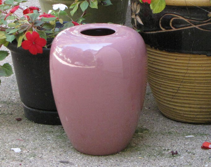 Haeger Pottery Mauve Urn Large Ginger Jar Styled Vase Made in America #4435