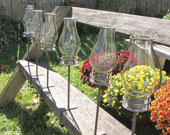 Outdoor Lanterns Vintage Yard Decor Pangaea Trading Company Set of Six (6) Hurricane Lamps
