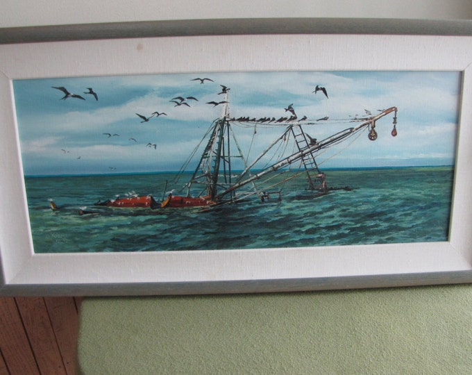 A Frigate Afternoon An Original Oil Painting Vintage Ocean Nautical Art