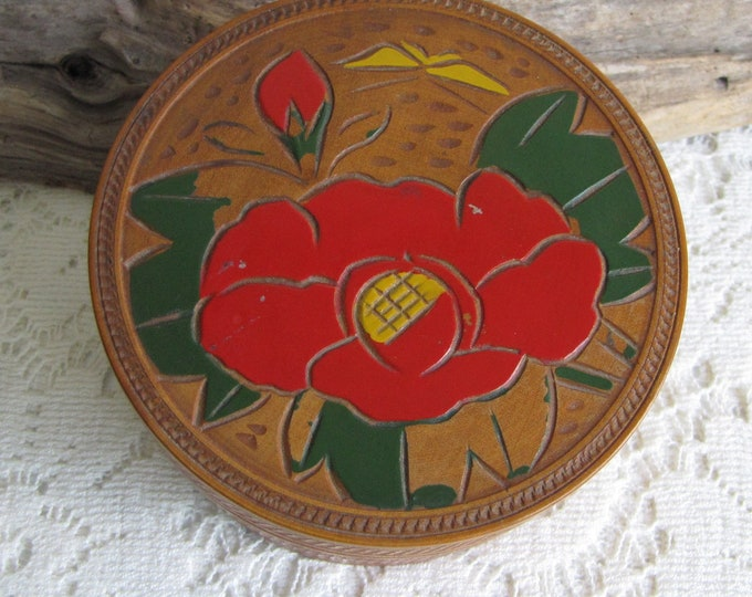 Teak Coasters Made in Occupied Japan Set of Eight (8) Hand Painted Vintage Home Decor