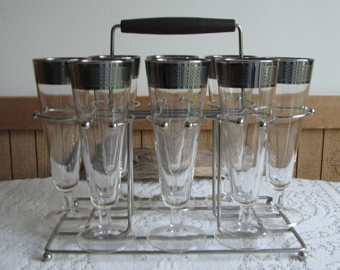 Platinum Trimmed Pilsner Set Vintage Barware and Beer Glasses Checkerboard Trim Set of Eight (8) with Caddy