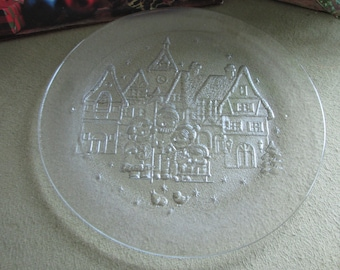 Vintage Christmas Crystal Platter Carolers and a Village Scene