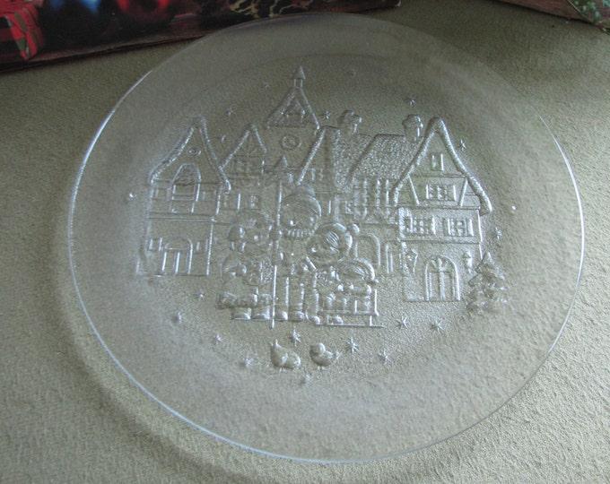 Vintage Christmas Crystal Platter Carolers and a Village Scene