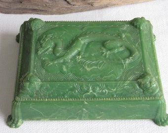 Cruver-Chicago Green Dragon Playing Card Holder Vintage Games and Toys Celluloid Material