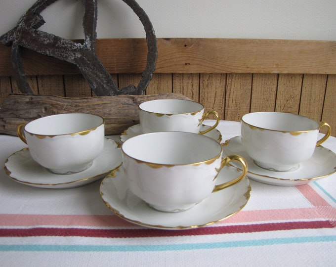 Haviland Ranson Cups and Saucers Vintage Dinnerware and Replacements Gold Trim Set of Four (4) Circa 1920s