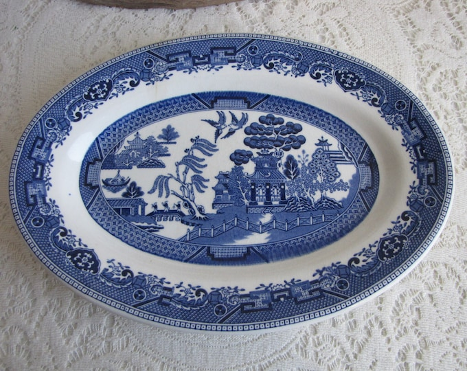 Blue Willow Platter Buffalo China Vintage Dinnerware and Replacements Chinoiseries and Plate Walls