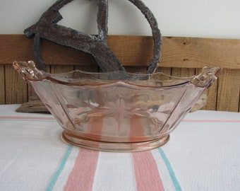 Etched Pink Depression Glass Bowl Mt. Pleasant Pink 1925-1934 Smith Glass Co.