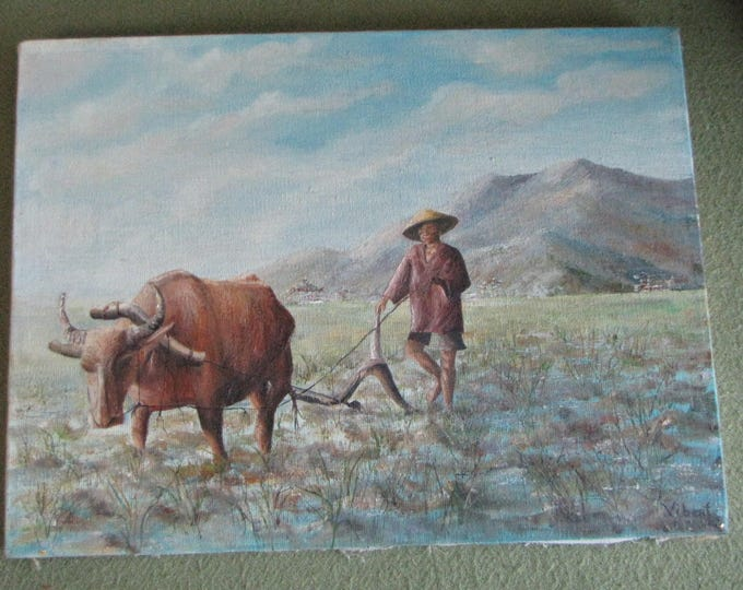 S. Vibert Original Oil Painting Man and Ox in Field Oriental Wall Art Canvas and Oils 1971