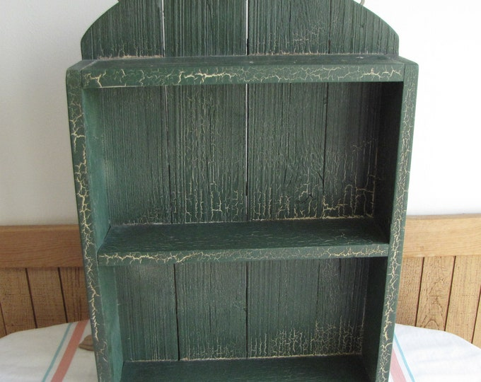 Old Wooden Shelf Green Crackled Painted Hand Made Rustic Farmhouse Decor and Shelving Units