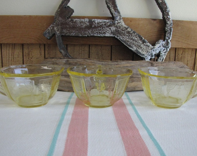 Yellow Depression Glass coffee cups set of 3 Anchor Hocking Princess Vintage Depression Glass and Drinkware
