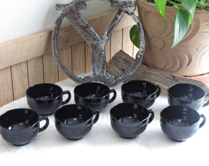 Hazel Atlas Black Cloverleaf Coffee Cups 1930-1936 Depression Glass Vintage Dinnerware and Replacements Set of Eight (8)