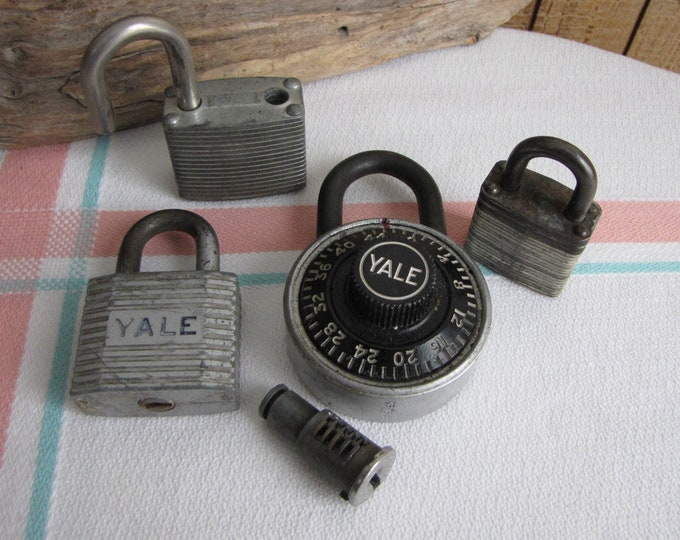Antique and Vintage Padlocks Lot of Five (5) Industrial Salvage Locks and Hardware