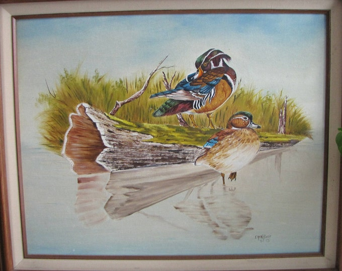 Duck Oil Painting Carol Bock Artist Original Paintings Vintage Home and Cabin Décor