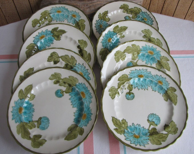 Metlox Blue Fascination Salad Plates Set of Eight (8) Vintage Dinnerware and Replacements