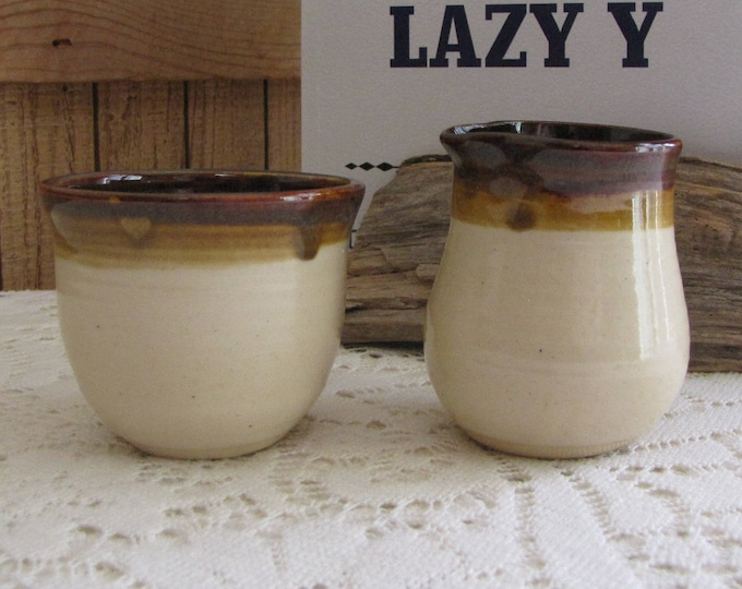 Vintage Brown Hand Thrown Cream and Sugar Bowl Small Pottery Serving Ware 1983