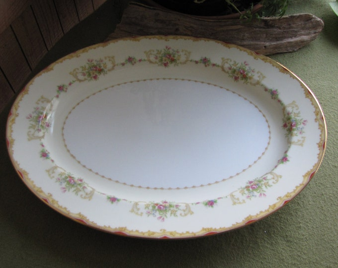 Noritake Large Dinner Platter Vintage Dinnerware and Replacement Circa 1930s Red and Gold