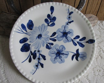 Southern Pottery Blue Ridge Blue Moon Pattern Vintage Farmhouse and Rustic Home Décor Plate Walls