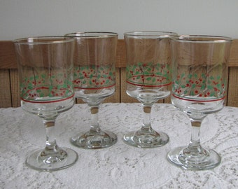 Arby's Christmas Water Goblets Holly and Berries Vintage Holiday Glassware Set of Four (4) Glasses