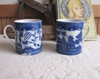 Blue Willow Coffee Mugs Set of Two (2) Cups Vintage Dinnerware and Replacements
