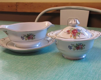 Vintage Sugar Bowl and Gravy Boat Gold Coast China Vintage Dinnerware and Replacements