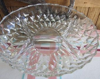 Gorham Althea crystal divided dish Vintage serving ware