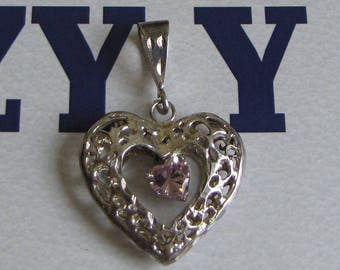 Silver and Pink Rhinestone Heart Pendant Vintage Sterling Silver Jewelry
