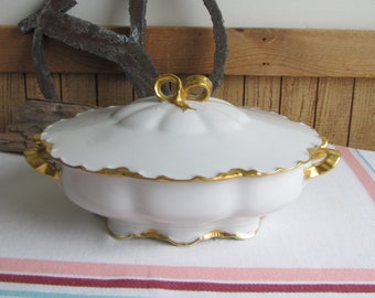 Haviland Ranson Lidded Vegetable Bowl Vintage Dinnerware and Replacements Gold Trim Circa 1920s
