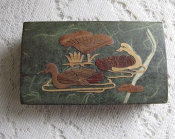Small Wood Box Duck Inlayed Scene Vintage Trinket and Jewelry Boxes and Storage