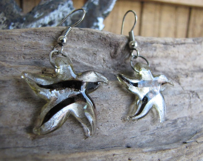 Glass Starfish Earrings Vintage Jewelry and Accessories The Endangered Species Store