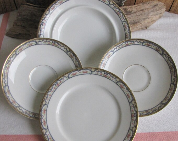 Theodore Haviland 1903 A Bread Plate, A Butter Base, and Two (2) Saucers Antique Dinnerware and Replacements Five (5) Pieces