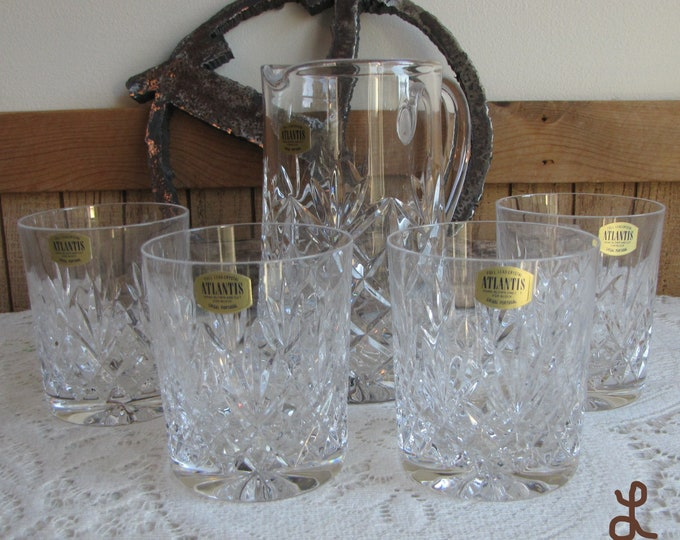 Atlantis Meridian Whiskey Cocktail Set Crystal Old Fashions with Pitcher Vintage Barware Full Lead Crystal