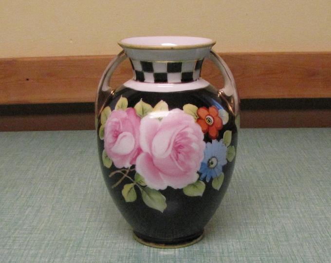 Black Nippon Vase Gold Handled Circa 1920s Vintage Florist Ware and Home Décor