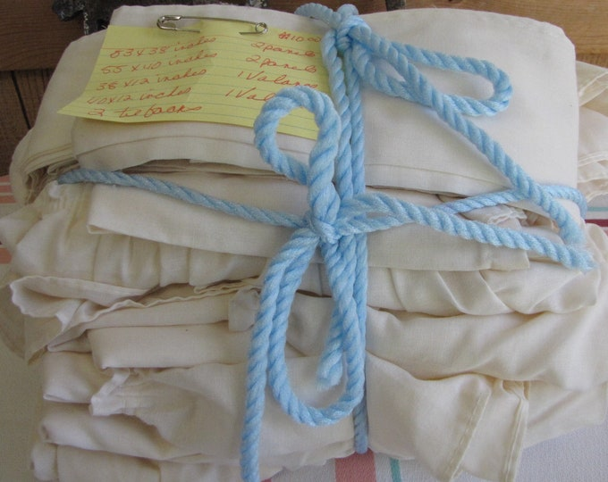 Vintage Linens Curtains Cream Colored Ruffled Kitchen Curtains
