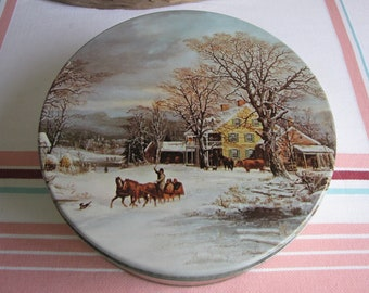 Maurice Lenell Cookie Tin Winter's Journey Resumed Large Vintage Tins and Holiday Food Storage