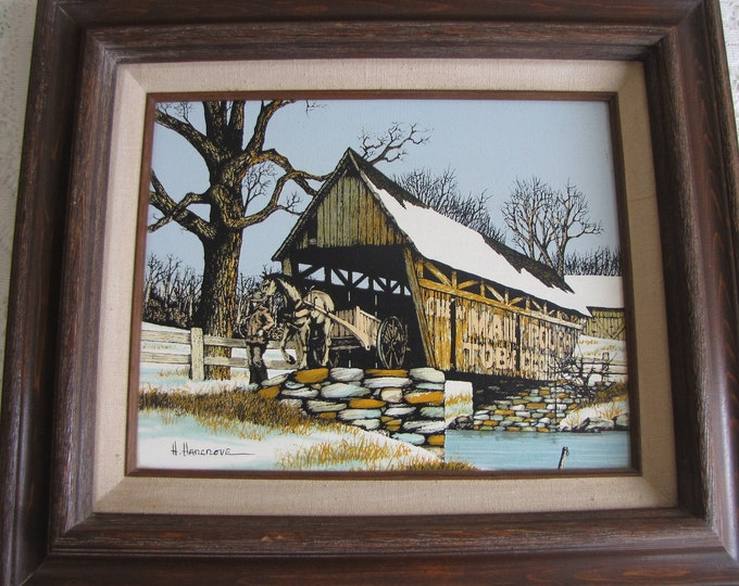 Hargrove Oil Painting Covered Bridge Vintage Home Decor Americana