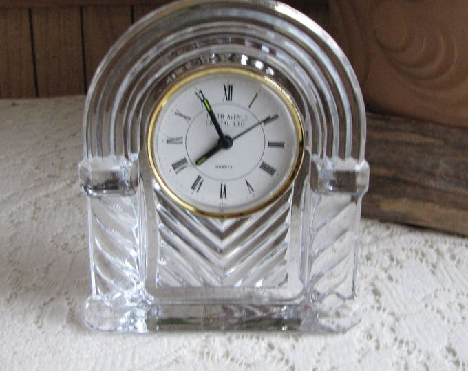 Fifth Avenue Crystal Clock Quartz Clock and 24% Lead Crystal Vintage Timepieces