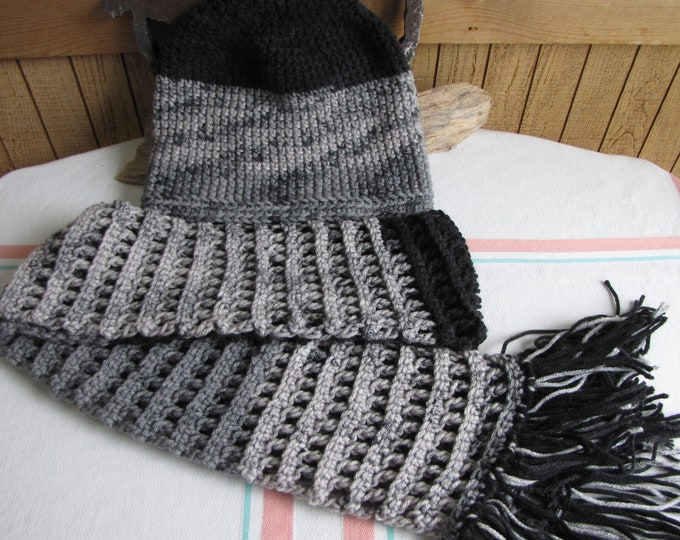 Crocheted Checkerboard Winter Scarf and Slouchy Hat Set Black and Grays 100% Acrylic Yarn
