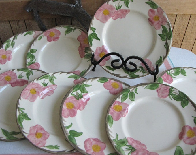 Franciscan Desert Rose Salad Plates England Backstamp 1976-1984 Set of Eight (8) Vintage Dinnerware and Replacements