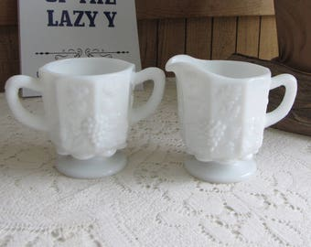 Westmoreland Milk Glass Cream and Sugar Bowl Paneled Grapes Vintage Dinnerware and Replacements