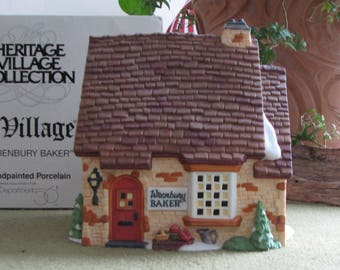 Dickens's Village Series Wrenbury Baker Shop Hand Painted Porcelain Lighted Shop Depart. 56 Retired 1995-1998