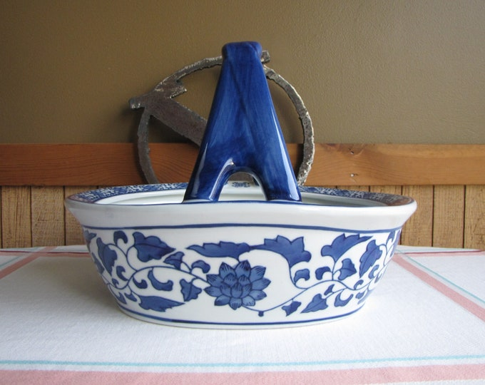 Vintage Blue and White Ceramic Basket