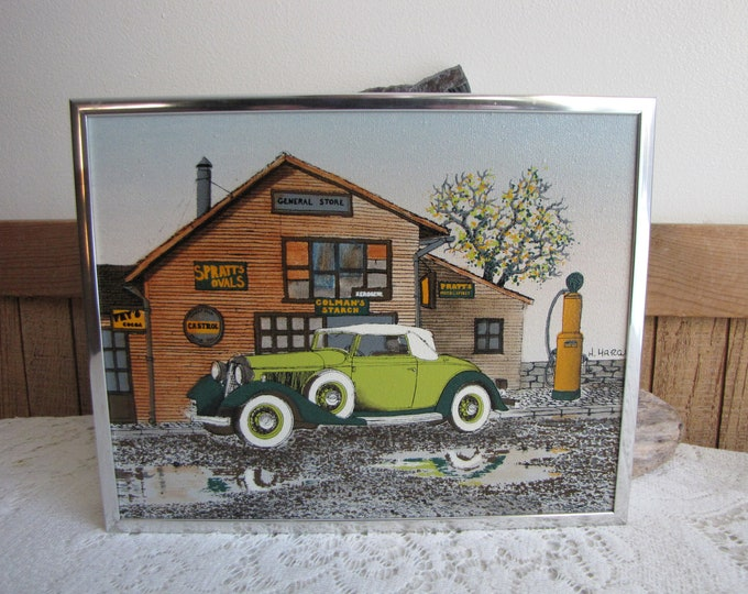 H. Hargrove Painting Garage and Car with Gas Pump Vintage Paintings and Home Decor Americana