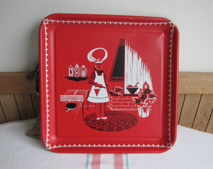 Vintage Red Barbeque Tray Mid Century Entertaining and Grill Ware Imperfections