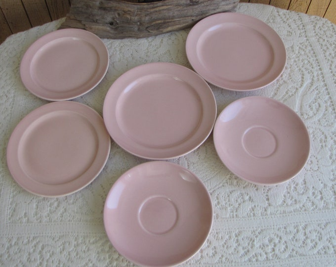Lu-Ray Small Plates Pastels Pink Taylor, Smith & Taylor 1938 to 1960 Vintage Dinnerware and Replacements Set of Six (6)