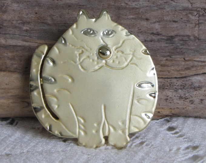 Fat Cat Brooch Vintage Jewelry and Accessories Animal Jewelry and Gifts