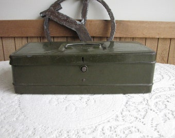Small Metal Toolbox Climax Brand Green Vintage Boxes