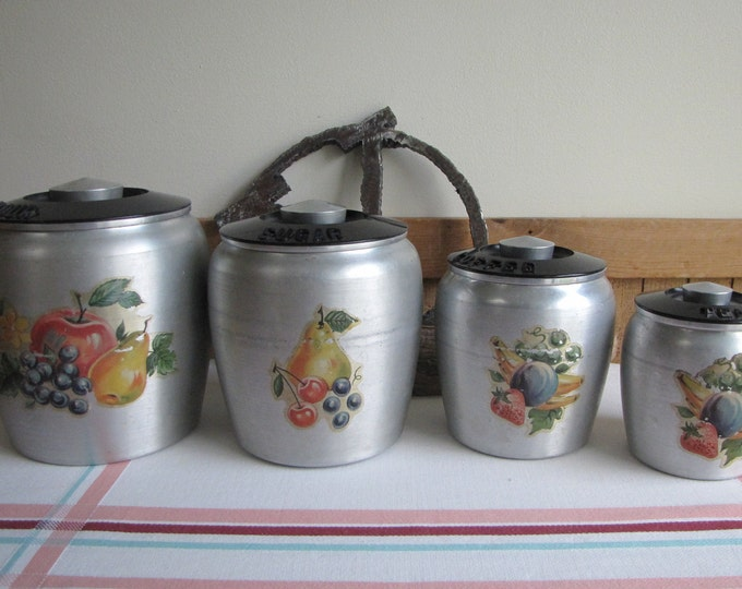 Kromex Canister Set Fruit Set of Four (4) Canisters Vintage Kitchens Storage and Decor