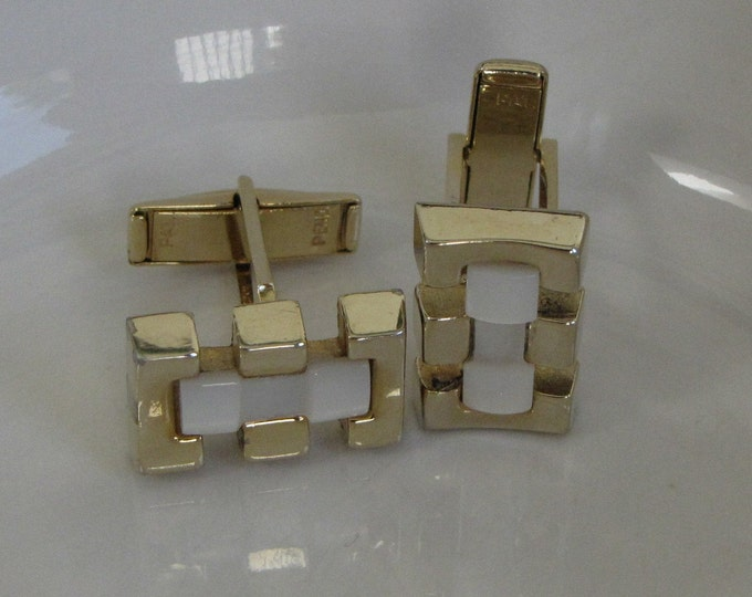 Geometric Cufflinks with Mother of Pearl Gold Toned Vintage Men's Jewelry and Accessories